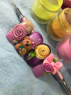 Rose Nail Art, Rose Nails, 3d Nail Art, Pink Nails, New Nail Art Design, Nail Art Designs, Nail Deaigns, 3d Acrylic Nails, 3d Flower Nails