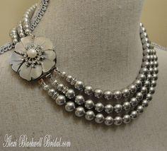 Pearl Necklace Set in Swarovski Pearls 3 Strand  Rhinestone Pearl Flower by AlexiBlackwellBridal, $79.00