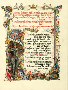 Morte d'Arthur, a poem by Alfred, Lord Tennyson, Written out and illuminated by Alberto Sangorski, 1912.