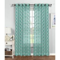 Bloomsbury Market Newbury Quatrefoil Geometric Sheer Grommet Single Curtain Panel Curtain Color: Turquoise/White, Size per Panel: W x L Coastal Curtains, Sheer Curtain Panels, Colorful Curtains, Grommet Curtains, Drapes Curtains, Turquoise Curtains, Fitted Bathroom, Beautiful Curtains