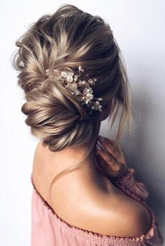 Bridal Hairstyles For Perfect Big Day Party ★ romantic bridal updos wedding hairstyles textured swept low bun with crystal pin hair_vera