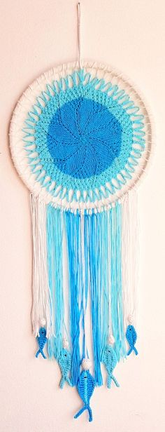 Items similar to Magical Dream Catcher Blue Knitted Dream Catcher Hanging Fishes Knitted Ocean Decor Feng Shui Water Symbol Housewarming Gift Rustic ArtDecor on Etsy Etsy Handmade, Handmade Items, Handmade Gifts, Water Symbol, Creative Gifts, Feng Shui, Etsy Seller, Etsy Shop, Water Blue