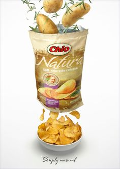 Chio Natura Potato Chips on Behance Chip Packaging, Food Packaging Design, Coffee Packaging, Candy Packaging, Food Poster Design, Food Design, Design Ideas, Organic Snacks, Ads Creative