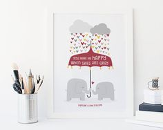 Elephant Love Print - 'You Make Me Happy' - personalized anniversary gift - couples gift - engagement gift - wedding gift for wife - uk