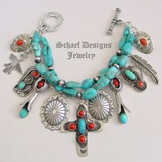 Schaef Designs Blue Turquoise Coral & Sterling Silver Cross Native American 3 Strand Charm Bracelet Necklace | Schaef Designs Southwestern & turquoise Jewelry | New Mexico