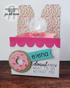 Door hanger project by Jen del Muro. Reverse Confetti stamp set: Donut You Know. Confetti Cuts: Donut You Know, Double Edge Scallop Border and Hanging Out.