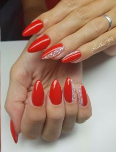 Pin on Origami Pin on Origami Red Gel Nails, Black Acrylic Nails, Gelish Nails, Gel Nail Art, Easy Nail Art, Nail Manicure, Nail Polish, Square Nail Designs, Nail Art Designs