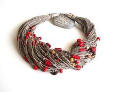 Red beaded linen necklace modern eco style summer di dekkoline
