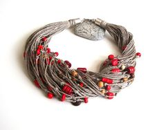 Red beaded linen necklace, modern eco style, summer fashion, multistrand necklace, red and brown necklace