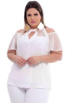 Branco Curvy Outfits, Sexy Outfits, Plus Size Outfits, Fashion Outfits, Plus Size Blouses, Plus Size Tops, Curvy Women Fashion, Plus Size Fashion, Plus Size Patterns