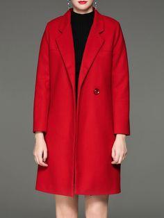 #AdoreWe #StyleWe UISWAN Red Lapel Cotton-blend H-line Simple Coat - AdoreWe.com