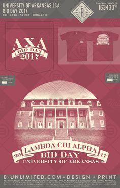 University of Arkansas Lambda Chi Alpha bid day Lambda Chi Alpha, Greek Shirts, Fraternity Shirts, University Of Arkansas, Greek Apparel, Greek Clothing, Bid Day, Greek Life, Design