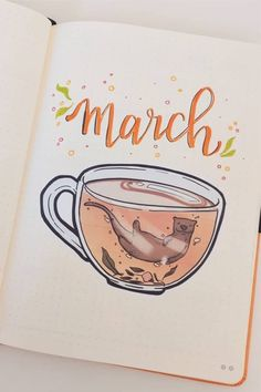 How cute is this bullet journal monthly cover? 😍 Check out the rest of the list for more adorable ideas for inspiration! Bullet Journal School, March Bullet Journal, Bullet Journal Cover Ideas, Bullet Journal Lettering Ideas, Bullet Journal Writing, Bullet Journal Spread, Journal Covers, Bullet Journal Inspiration, Bullet Journal Aesthetic