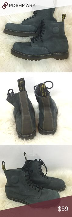 """Dr. Martens gray suede Ronnie air cushion boots Men's Size US 13 (uk 12). Gray suede """"Ronnie"""" boots. Lightly worn, see photos. Round toe, rubber sole, lace up, leather upper, air wair pull tab, dr martens signature welt trim. Dr. Martens Shoes Boots"""