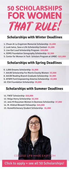 Going to college and need money to pay for school? Check out my list of 50 scholarships for women! #college #collegelife #collegetips #student #studentlife #women via @esycollegelife