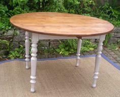 belle table ronde a volets ancienne en bois peint