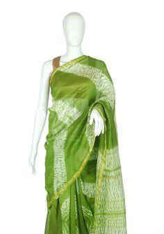 Green Chanderi Shibori Saree Design 1