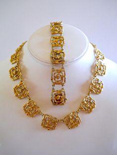 Gold Vermeil Necklace-Bracelet Set 850 Silver by RenaissanceFair