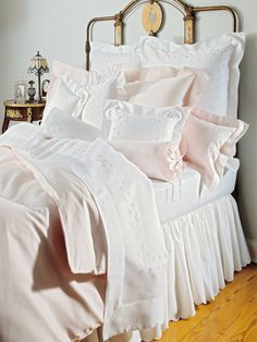 Minute pin dots glow as softly as moonlight on this 300 thread count, 100% Egyptian cotton damask. Woven in Italy in Pink and Daffodil, with superbly...