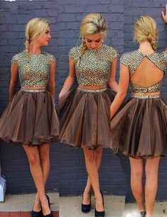 Two Piece Homecoming Dress-Chocolate Bateau Cap Sleeveless Open Back Short with Beading