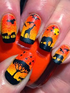 Nail Art Designs In Every Color And Style – Your Beautiful Nails Nail Art Diy, Cool Nail Art, Lion King Nails, Safari Nails, Nail Art Designs, Animal Nail Designs, Sunset Nails, Animal Nail Art, Disney Nails