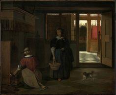 Buy Art Reproductions Interior of a Dutch House 1680 Pieter De Hooch, Best Pencil, Dutch House, Dutch Golden Age, Ferdinand, Historical Costume, Museum Of Fine Arts, Rembrandt, Interior Paint