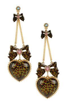 Leopard Heart & Bow Drop Earrings by Betsey Johnson on @HauteLook