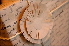 parcel  write special things about a person on paper bag, craft paper--br or white--tie w/twine, ribbon, hemp--easy flower w/3 concentric circles