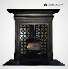 Buy online - See our Antique Cast Iron Stove Surround - Price: - Part of our Stoves And Antique Surrounds Range Stove Fireplace, Fireplace Mantels, Fireplaces, Antique Cast Iron Stove, Hearths, Stoves, Studying, Tile, House Ideas