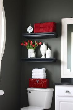 Red+gray bathroom. Pinspiration for our half bath! Need to find a funky red mirror to DIY!