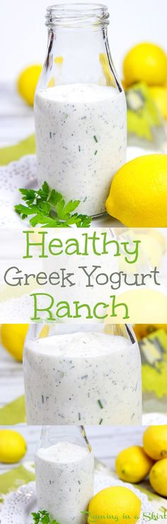 Homemade Healthy Greek Yogurt Ranch Dressing recipe.  A DIY, Clean, simple and easy recipe using pantry staples. Can be made thicker to use as a dip.  Tastes amazing- use for low carb, skinny or weight watchers to top a salad.  You'll never miss the bottl