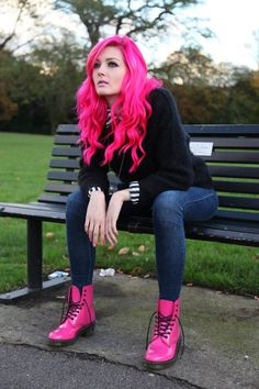 pink combat boots with jeans Hair Inspo, Hair Inspiration, Hair Dos, Your Hair, Cooler Stil, Hot Pink Hair, Corte Y Color, Coloured Hair, Dream Hair