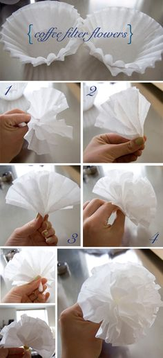 How to make coffee filter flowers, color with foodcoloring or waterpaint?