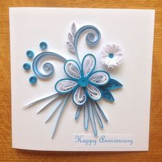 Quilling wedding anniversary card blue and white Quilling Birthday Cards, Paper Quilling Cards, Paper Quilling Tutorial, Paper Quilling Flowers, Paper Quilling Patterns, Origami And Quilling, Quilling Paper Craft, Quilling Videos, Quilling Techniques