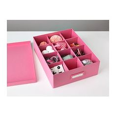 TJENA Box with compartments - pink - IKEA. Buy 3, attach, and make letter compartments $3.49