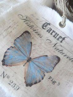 inspiration - Le blog de Célestine Boutons - Tampon Artémio - Image transférée sur drap de lin