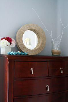 DIY Jute Mirror Tutorial ~ using a foam wreath and round dollar store mirror