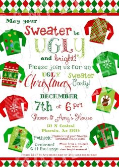 Custom Ugly Christmas Sweater Party by creativelyexpressive, $16.00