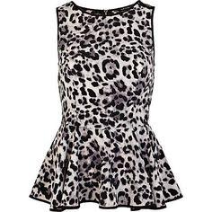 Grey leopard print sleeveless peplum top - peplum tops - tops - women
