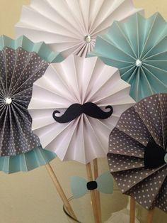 Des décos en papier avec des moustaches / 11pc Mustache Bash Paper Pinwheel Rosette Candy Table by LuckyRay, $45.00