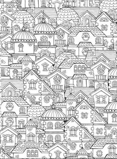 Coloring page for adults - buildings!
