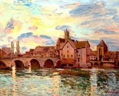 Alfred Sisley - Le pont de Moret au soleil couchant, 1892. Oil on canvas, 23 5/8 x 29½ in. (60 x 75 cm.).