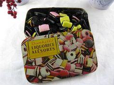 "Vintage English 1940's ""Liquorice Allsorts"" Licorice Candy Tin....Metal Candy Tin"