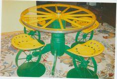 Wagon wheel table.