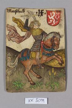 """A Marshall with baton. Böhmen [Bohemia], """"Hofämterspiel"""" für König Ladislaus """"Postumus"""", c. 1455"""