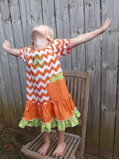 Fall-Halloween-Thanksgiving Pumpkin Applique Girls Dress made with Orange Chevron and Polka Dot Fabric. on Etsy, $49.00
