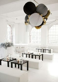 Modern wedding reception inspiration. Keep the color palette clean and minimal. starter