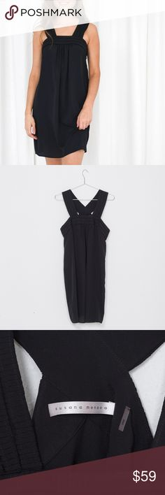 Susanna Monaco little black summer dress as 10 Worn only twice!!! Purchased from Saks. Perfect little black dress for summer. Size 10 easy shift fit- wear fitted or buy large to wear loose. Classic & easy - hope you love it as much as we do -xo Susana Monaco Dresses Mini