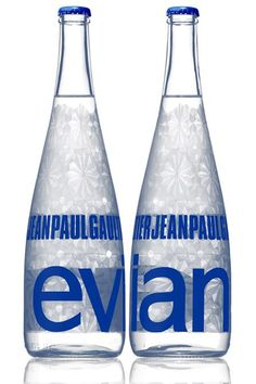Jean-Paul Gaultier Clear For Evian Limited Edition Collectible Designer Glass Water Bottle Unopened Water Bottle Design, Glass Water Bottle, Glass Bottles, Bottled Water, Water Packaging, Bottle Packaging, Product Packaging, Water Branding, Food Branding