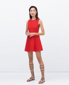 Image 1 of JACQUARD DRESS WITH PLEATS from Zara